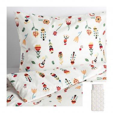 IKEA Rosenfibbla TWIN Single Duvet COVER Pillowcase Set Scandinavian Floral