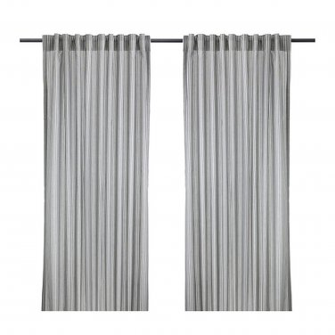 IKEA Gulsporre Drapes CURTAINS Striped Gray White Grey 2 Panels