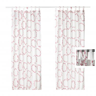 IKEA Vinter 2016 Drapes CURTAINS Red White Xmas Garland TAB TOP 2 Panels