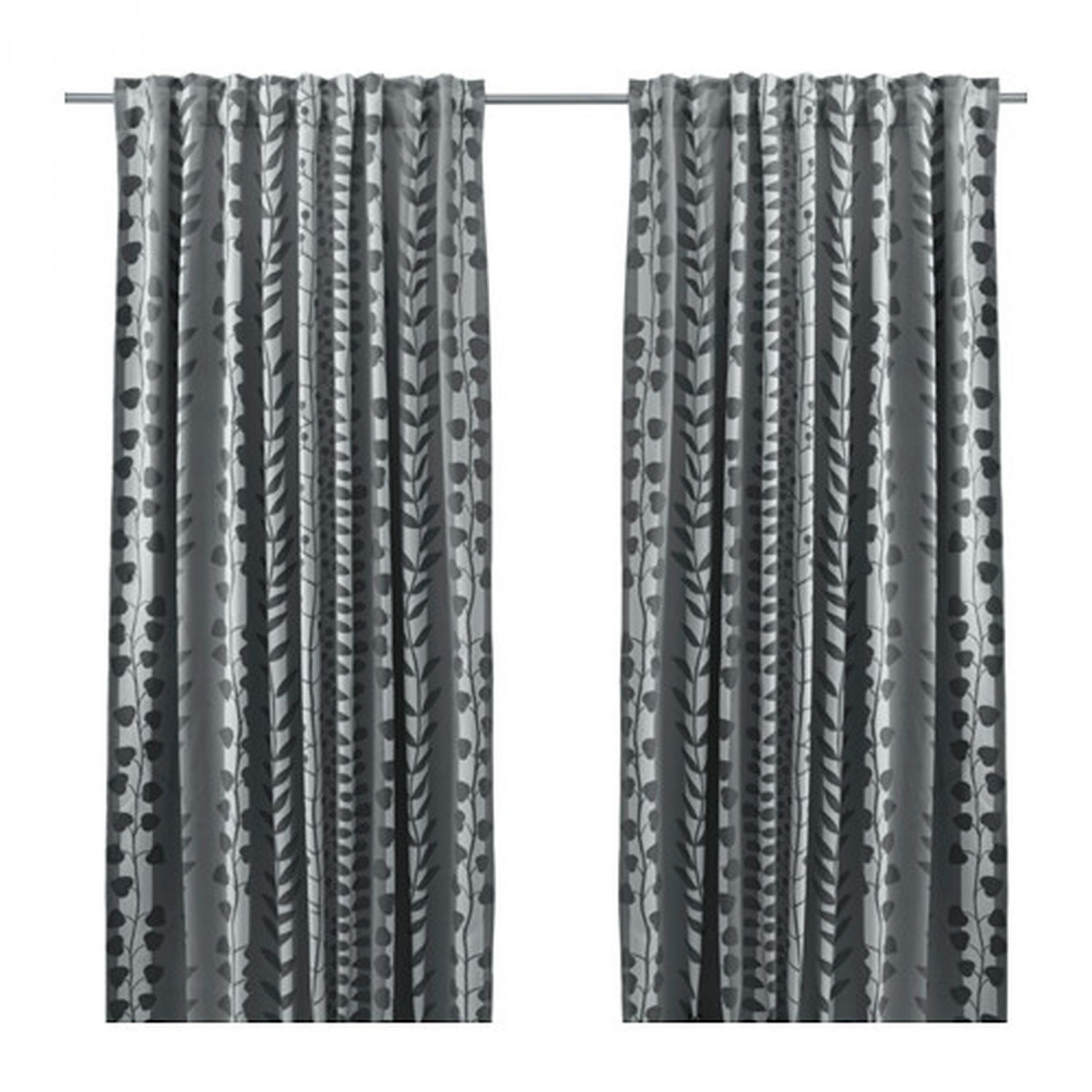 Ikea Gunni Curtains Drapes 2 Panels Gray Leaf Stripe Blackout
