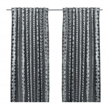 IKEA Gunni CURTAINS Drapes 2 Panels GRAY LEAF Stripe Blackout