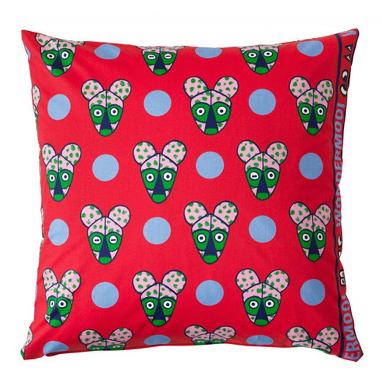 IKEA Glodande Cushion Cover EURO Pillow Sham 20 x 20 GL�DANDE RED Bears Faces Dots WONDERMOOI