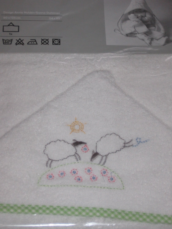 IKEA Minnen Lamm Baby Towel with Hood LAMB White ADORABLE