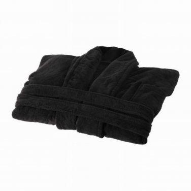 Ikea Njuta Bathrobe Robe Dressing Gown Cotton Unisex Sm Black