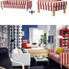 IKEA Karlstad 3 Seat Sofa and Footstool SLIPCOVER Ottoman Cover RANNEBO RED White STRIPES