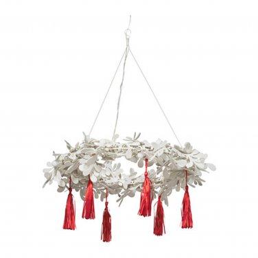 IKEA Strala Pendant Lamp CHANDELIER LED Light WHITE RED Wreath XMAS STR�LA Glansa Kallt