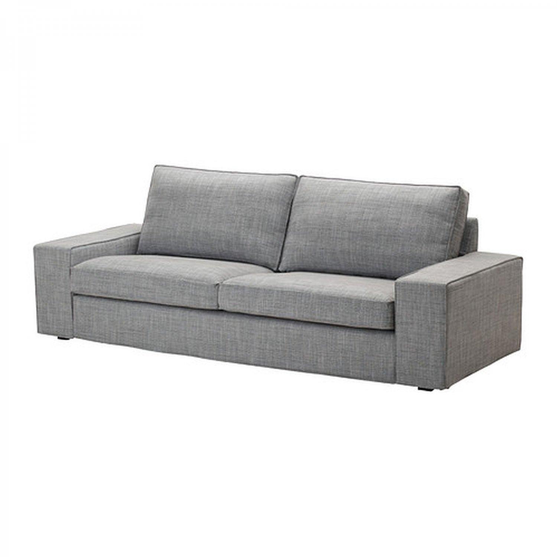 ikea kivik 3 seat sofa slipcover cover isunda gray grey linen blend bezug housse. Black Bedroom Furniture Sets. Home Design Ideas