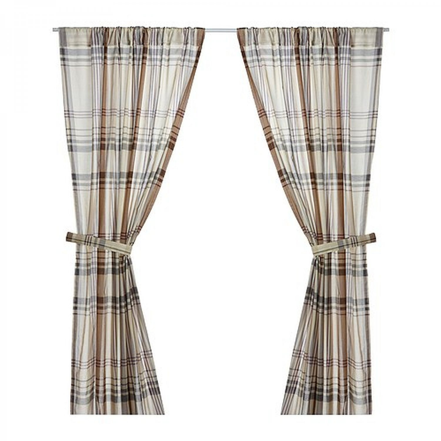 ikea benzy plaid curtains drapes 2 panels beige tan gray. Black Bedroom Furniture Sets. Home Design Ideas