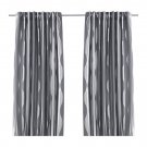 "IKEA Murruta CURTAINS Drapes 2 Panels GRAY 98"" Wavy Stripes Tone on Tone Hollywood Regency"