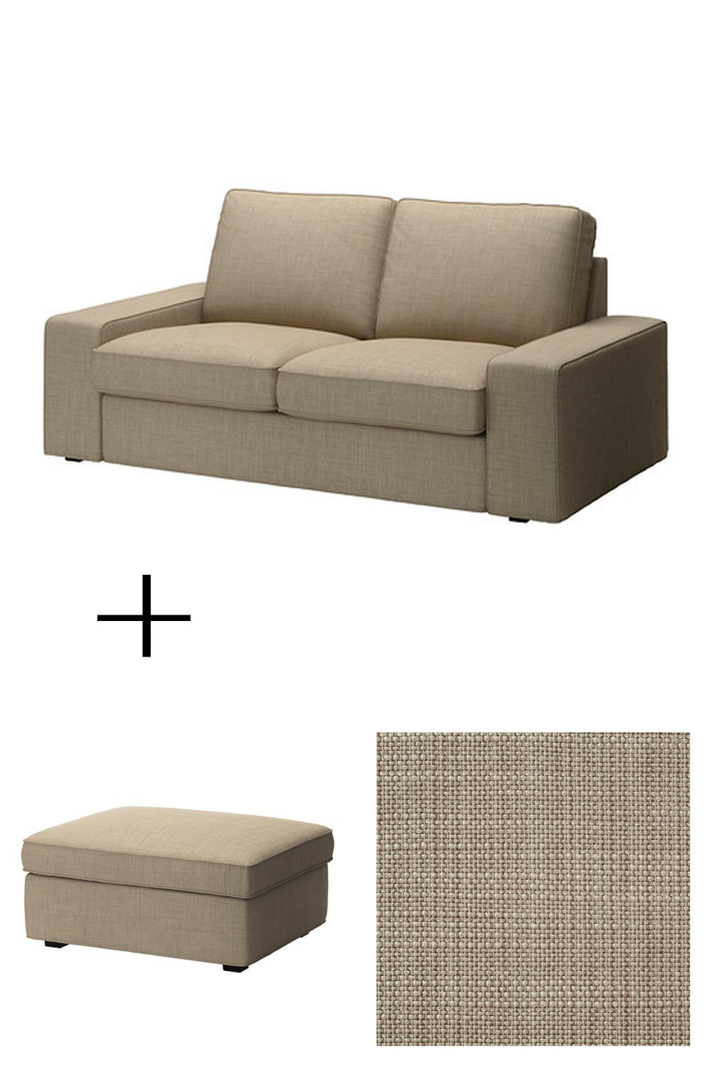 Ikea Kivik 2 Seat Sofa And Footstool Slipcovers Loveseat Ottoman Covers Isunda Beige Linen Blend