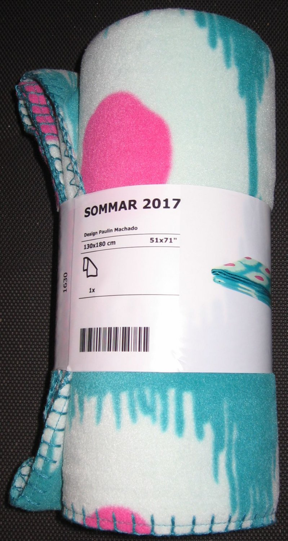 IKEA Sommar 2017 Fleece Throw BLANKET Bedspread Afghan Green Pink Dots