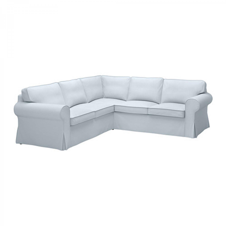 IKEA Ektorp 2+2 Corner Sofa COVER Slipcover NORDVALLA LIGHT BLUE 4 Seat Sectional Cover
