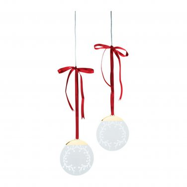 "IKEA STRALA 2 Pack LED Wreath Decoration Red Ribbon 5"" STR�LA Circle Battery Operated Glansa Kallt"