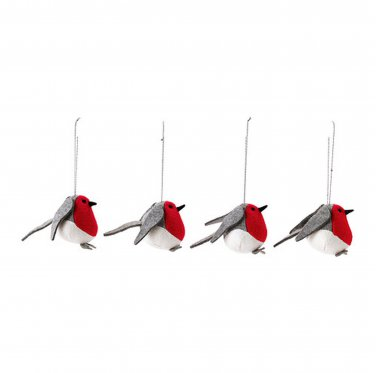 IKEA VINTER 2015 4 Birds Xmas Decorations Holiday Ornaments Gray Red Wren Chickadee Songbird