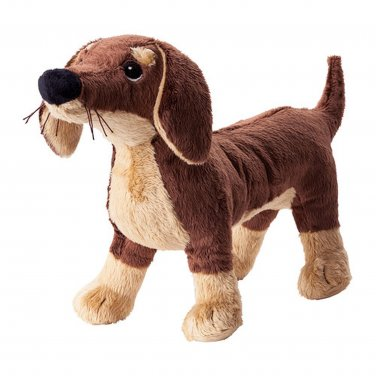 IKEA Smaslug PUPPY Dog SOFT Plush Toy BABY Safe SM�SLUG Brown Dachshund Klappar Gosig