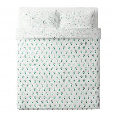 IKEA Sallskap QUEEN Full Duvet COVER Pillowcases Set FLOWER Pots GREEN Pink S�LLSKAP Spring