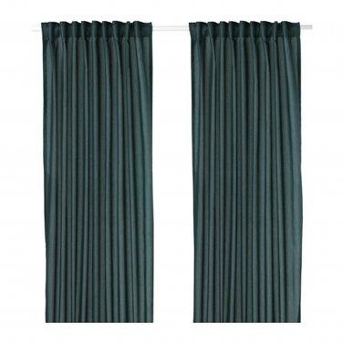 "IKEA Vivan CURTAINS Drapes GREEN-BLUE 2 Panels 98"" Length Green Blue"