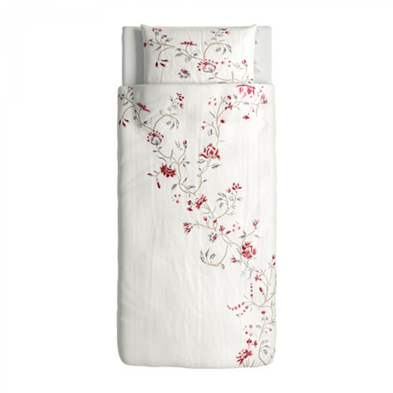 IKEA Rodbinka Twin DUVET COVER and Pillowcase Set FLORAL Romantic Swedish RIBBON Closure