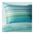 IKEA Palmlilja QUEEN Full Duvet COVER and  Pillowcases Set Turquoise Stripes Sateen Woven