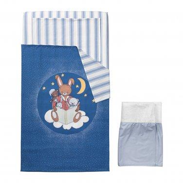 IKEA Sovdags 4 piece CRIB Bedlinen SET Duvet Cover Pillowcase Sheet Skirt Nursery Bedding BLUE Bunny
