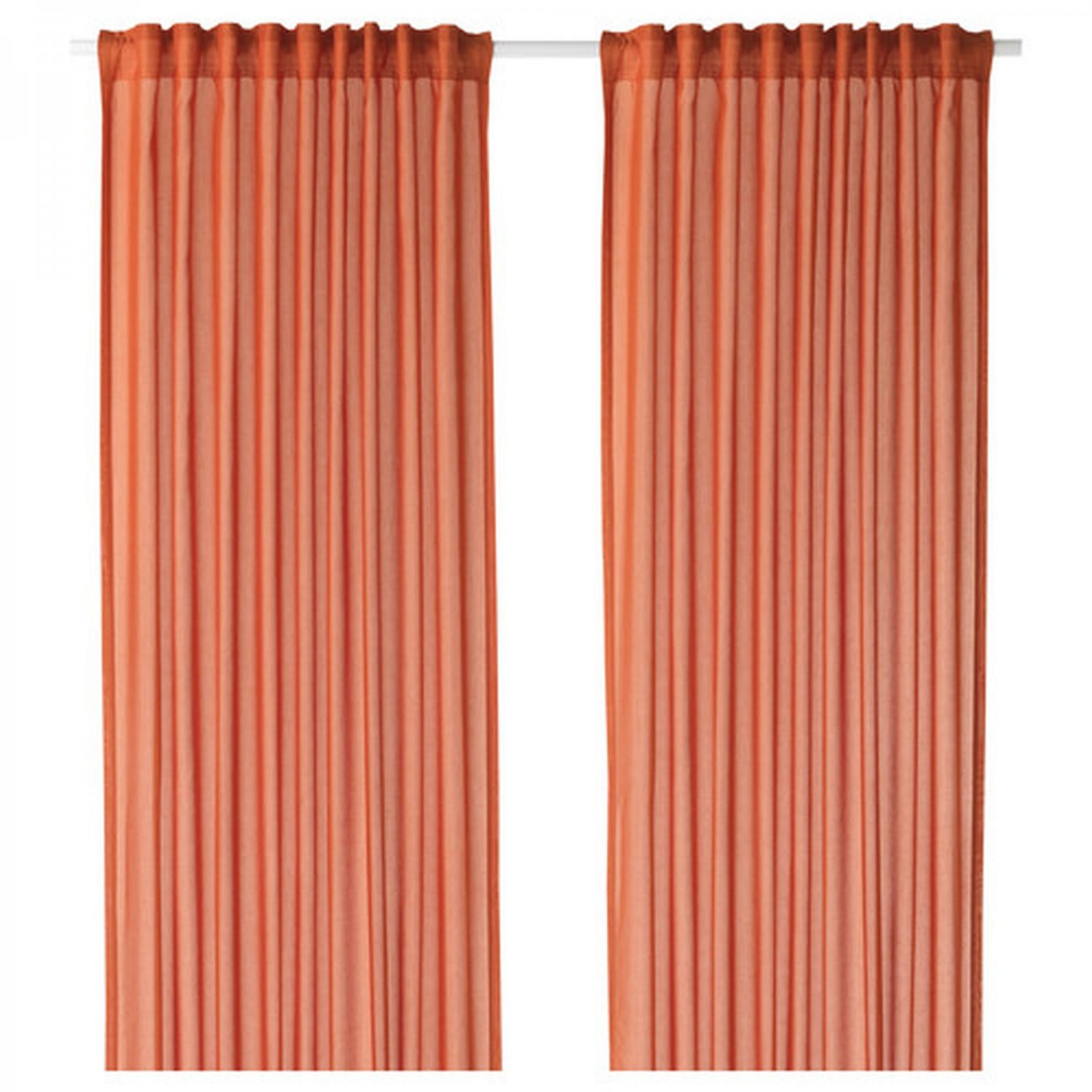 Ikea vivan curtains drapes orange 2 panels ice 98 length for Ikea curtain rods uk