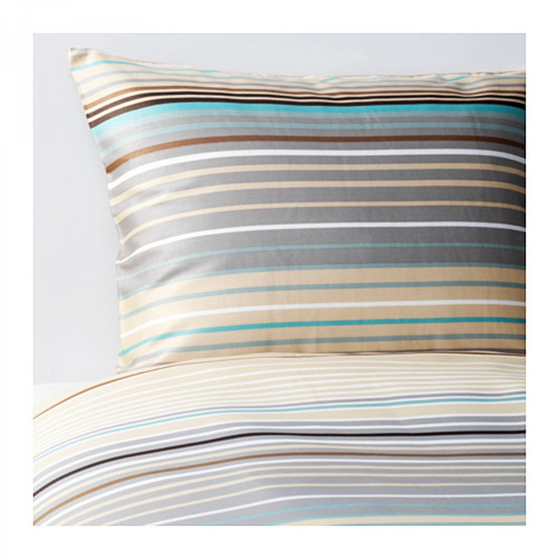 IKEA Palmlilja KING Duvet COVER and  Pillowcases Set BEIGE Stripes Sateen Woven Brown Turquoise