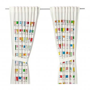 IKEA Hemmahos CURTAINS w Tie-backs CITY White Multicolor Girl Boy Retro Windows