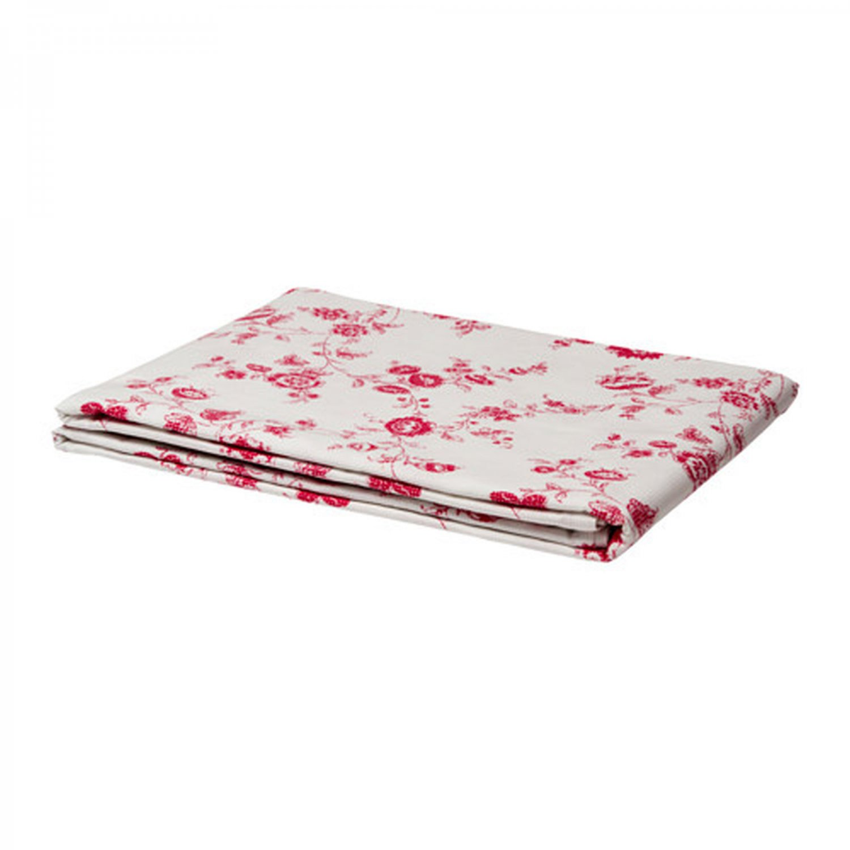 IKEA Inbjudande TABLECLOTH Red White Cotton Floral Retro Dot Design OBLONG Fabric
