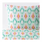 IKEA Sommar 2017  Full QUEEN Duvet COVER Pillowcases Set PINK Green Yellow
