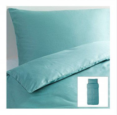 IKEA Gaspa TWIN Duvet COVER and Pillowcase Set TURQUOISE Blue Green Sateen Woven G�SPA
