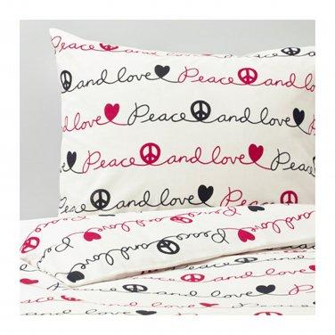 IKEA Vanskaplig TWIN Single Duvet COVER Pillowcase Set PEACE Love Script Letters V�NSKAPLIG