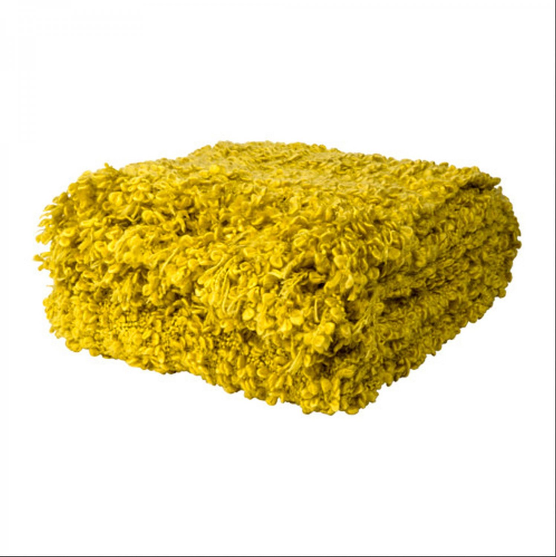 IKEA Ofelia YELLOW Throw BLANKET Acrylic Wool Photo PROP Textured
