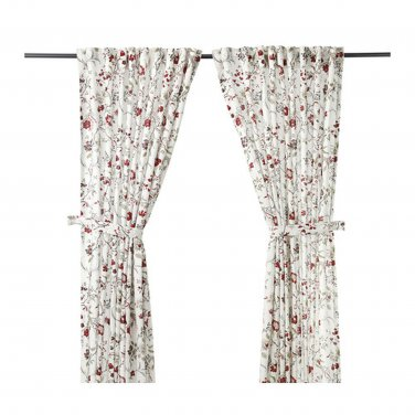 IKEA Ingmarie CURTAINS Drapes LINEN Blend Floral Scandinavian Country Colonial Romantic
