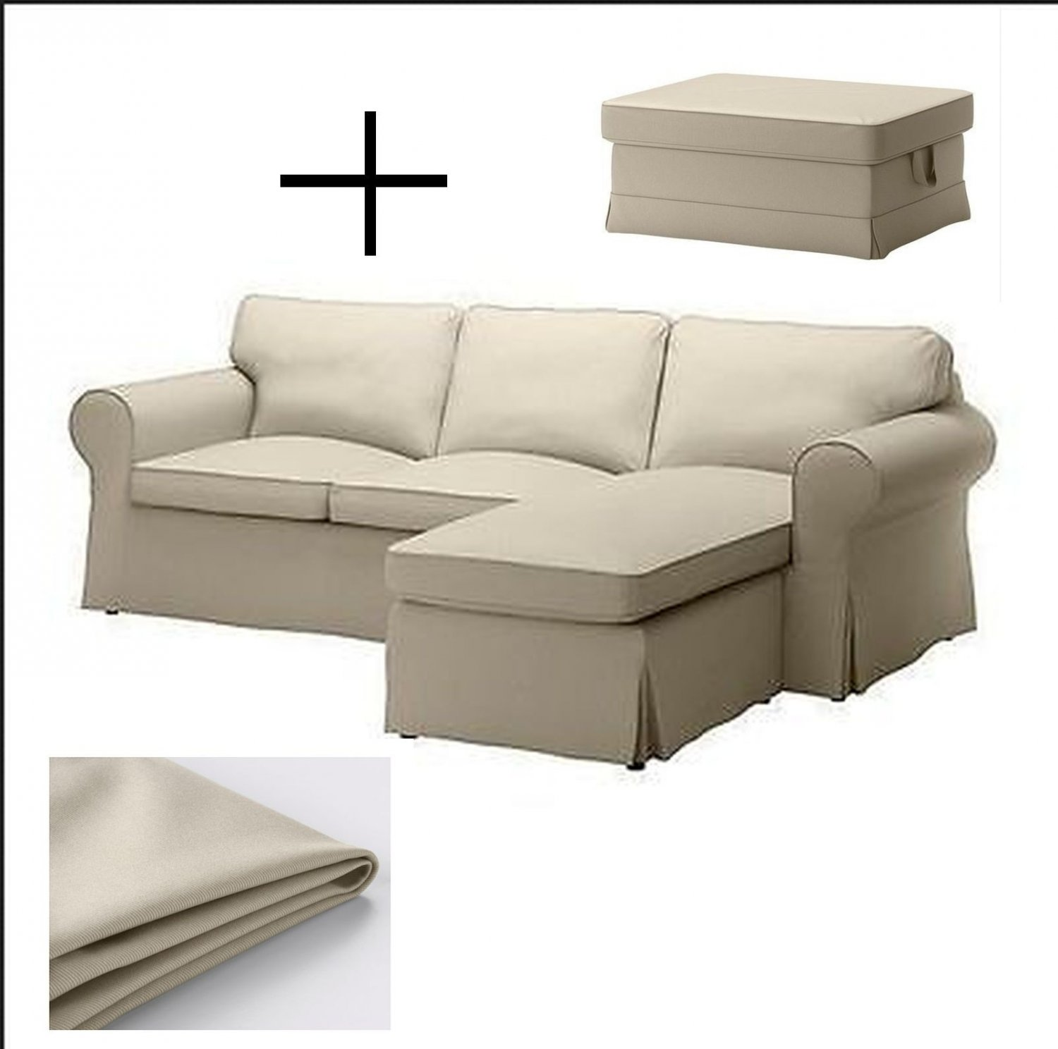 ikea ektorp loveseat sofa w chaise and footstool ottoman covers slipcovers tygelsjo beige tygelsj. Black Bedroom Furniture Sets. Home Design Ideas
