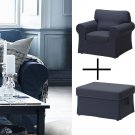 IKEA Ektorp Armchair Footstool COVERS Chair Ottoman SLIPCOVERS Jonsboda Blue Denim