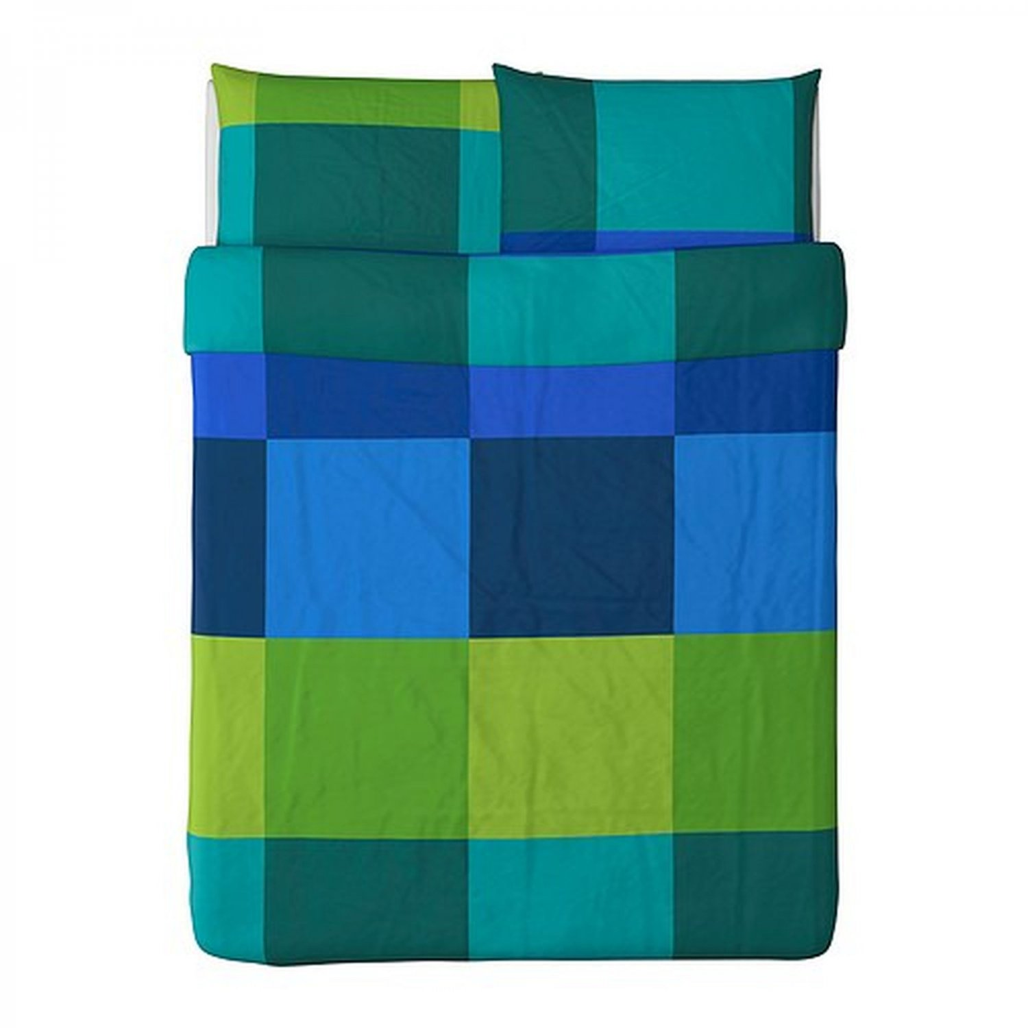 IKEA Brunkrissla QUEEN Full Duvet COVER Pillowcases Set BLUE GREEN Plaid Check Mondrian Color Block