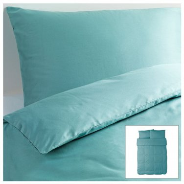 IKEA Gaspa QUEEN Full Duvet COVER and  Pillowcases Set TURQUOISE G�SPA Soft
