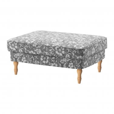 IKEA Stocksund Footstool SLIPCOVER Ottoman Cover HOVSTEN Gray Floral Blurred Watercolor Effect