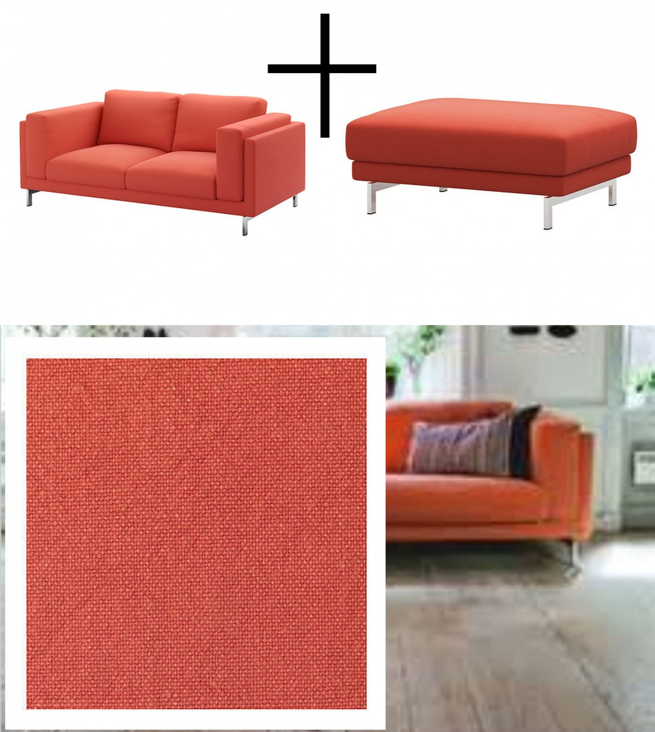 Ikea Nockeby Loveseat And Footstool Slipcovers 2 Seat Sofa Ottoman Covers Risane Orange Linen Blend