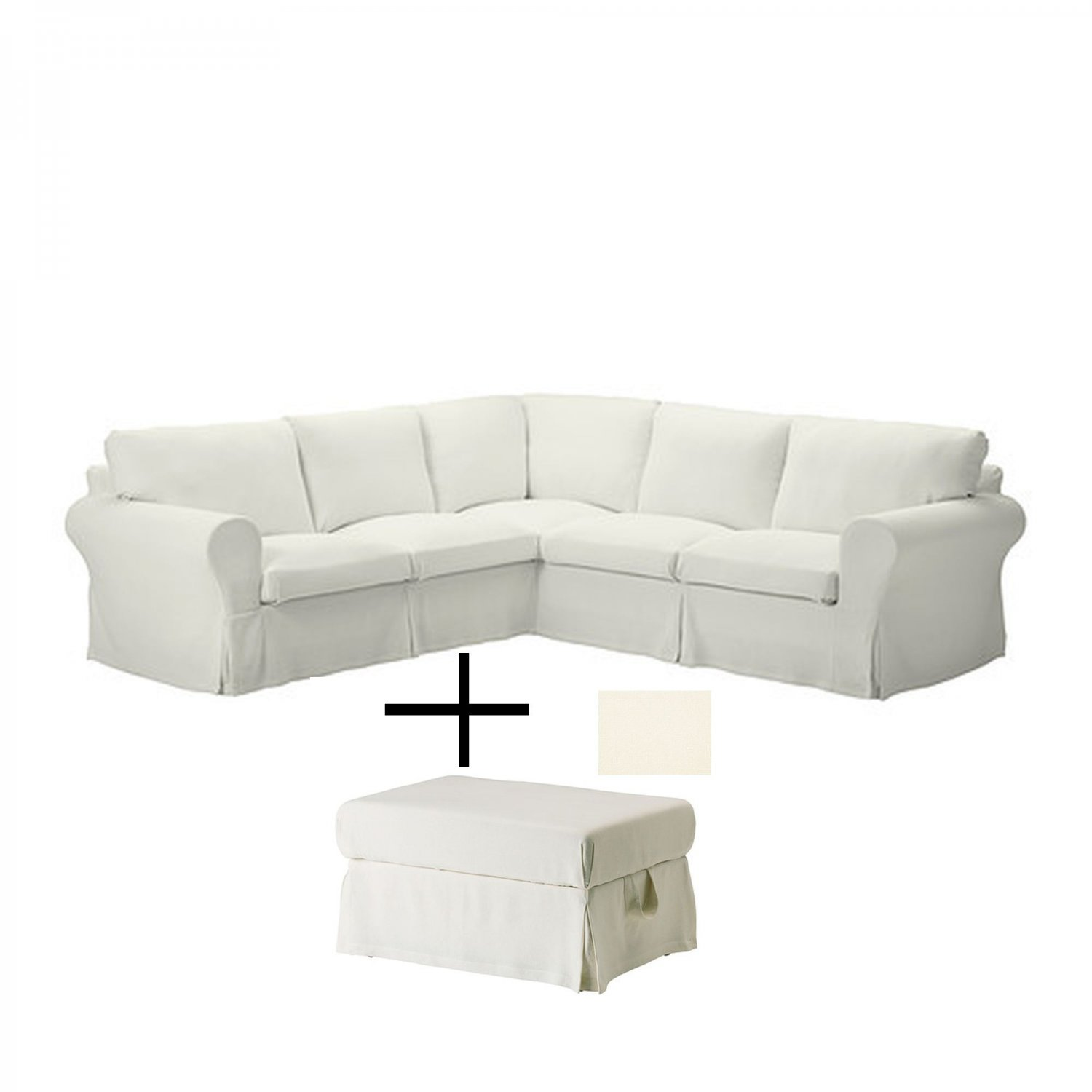 ikea ektorp corner sofa and footstool slipcovers stenasa white 4 seat sectional and ottoman covers. Black Bedroom Furniture Sets. Home Design Ideas