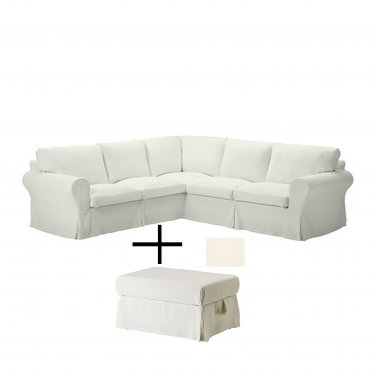 IKEA Ektorp Corner Sofa and Footstool SLIPCOVERS Stenasa White 4 Seat Sectional and Ottoman COVERS