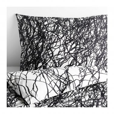 IKEA Svartan TWIN Duvet COVER and Pillowcase Set GRAY Black White Abstract SV�RTAN