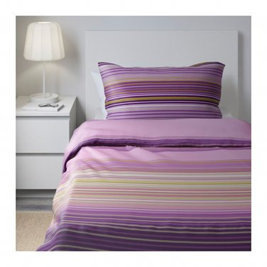 IKEA Palmlilja TWIN Duvet COVER and Pillowcase Set Purple Lilac Stripes Sateen Woven