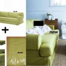 IKEA Hovas Sofa and Footstool SLIPCOVER Cover KALLVIK Light GREEN Källvik HOVÅS