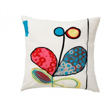 """IKEA Eivor Kvist CUSHION Floral Accent Pillow Modern Floral Embroidered Blue Pink 22"""" Square"""