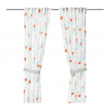 IKEA Stjarnbild CURTAINS w Tie-backs CITY White Blue Orange Girl Boy Retro STJ�RNBILD