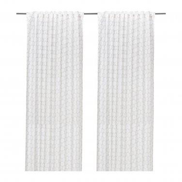 IKEA Flong Drapes CURTAINS Striped Gray White Grey 2 Panels FL�NG