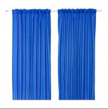 "IKEA Vivan CURTAINS Drapes DARK BLUE 2 Panels 98"" Length Bright Bleu"