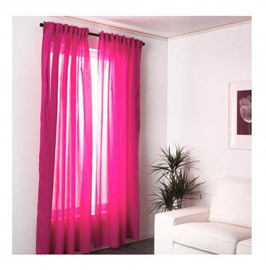 "IKEA Vivan CURTAINS Drapes CERISE Pink 2 Panels 98"" Length Bright Rose"