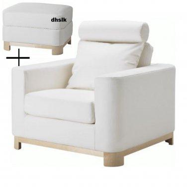IKEA Salen ARMCHAIR and Footstool SLIPCOVERS Saganas White Ottoman Chair Covers S�LEN